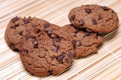 Cookies. With chocolate on background royalty free stock photography