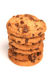Cookies. Pile chocolate chip cookies on white background royalty free stock photography