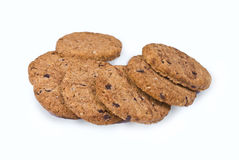 Cookies. Chocolate cookies on white background royalty free stock photos