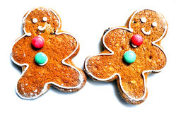 Cookies. Gingerbread man cookie over white background Royalty Free Stock Images
