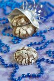 Cookies. Christmas decorated cookies on a blue background Stock Photo