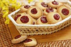 Cookies. Fresh cookies in wooden basket royalty free stock image