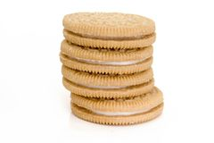 Cookies. With white cream,  close-up Royalty Free Stock Photo