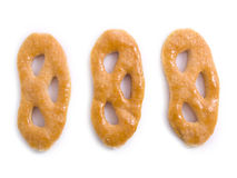 Cookies. Three tasty pretzels on a white background Stock Image