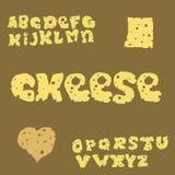 Cheese cartoon ABC. Cheese slice alphabet vector illustration