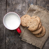 Cookies from above with milk Stock Images