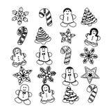 Cookies ajustadas do Natal do pão-de-espécie, ilustração do vetor Fotos de Stock Royalty Free
