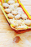 Cookies of almond flour in basket Stock Image
