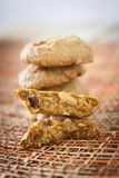 Cookies. Almond Raisin on mesh brown royalty free stock photography