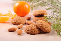 Cookies with almond and tangerins Royalty Free Stock Photo