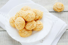 Cookies with almonds and amaretto stock images