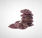 Cookies or Almonds chocolate cookies on background. Royalty Free Stock Image