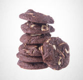 Cookies or Almonds chocolate cookies on background. Stock Photos