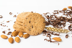 Cookies with almonds and chocolate pieces Royalty Free Stock Images