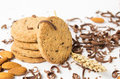Cookies with almonds and chocolate pieces Royalty Free Stock Photography
