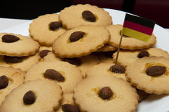 Cookies with almonds gluten freen. Presentation of some round cookies and other heart-shaped royalty free stock photos