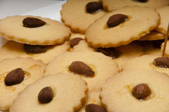 Cookies with almonds gluten freen. Presentation of some round cookies and other heart-shaped Stock Image