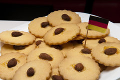 Cookies with almonds gluten freen. Presentation of some round cookies and other heart-shaped Stock Photography