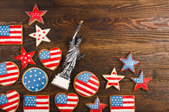 Cookies with American patriotic color Royalty Free Stock Photography