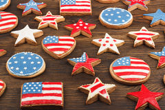 Cookies with American patriotic color Royalty Free Stock Images