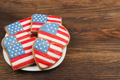 Cookies with American patriotic colors Royalty Free Stock Photo