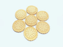 Cookies. In the amount of seven pieces on white background Royalty Free Stock Images