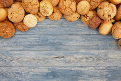 Free Cookies And Biscuits At Blue Wood With Copy Space Royalty Free Stock Photos - 74262378