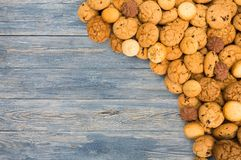 Free Cookies And Biscuits At Blue Wood With Copy Space Royalty Free Stock Image - 99366096