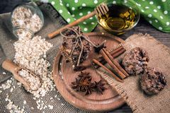 Cookies, anise, cinnamon and oatflakes stock photo