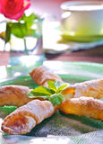 Cookies with apple filling. Crispy cookies with apple filling Stock Photo