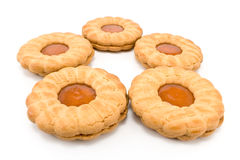 Cookies with apricot jam Stock Images