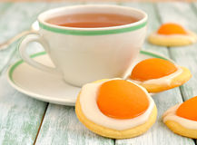 Cookies with apricots and sugar icing Stock Photos