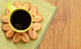 Cookies around a cup of coffee. Heart shaped cookies around a cup of coffee Stock Photo