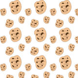 Cookies background. Chocolate chip cookies isolated on white Royalty Free Stock Image