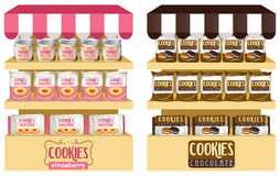 Cookies in bags and jars Royalty Free Stock Photos