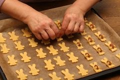 Cookies are baked for the Christmas party.  royalty free stock images