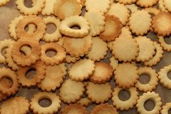 Cookies are baked for the Christmas party.  royalty free stock photography