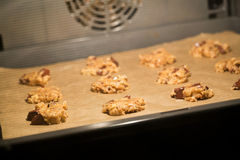 Cookies Baking in an Oven Stock Images