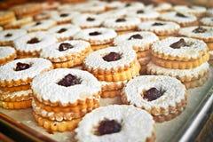 Cookies on baking tray stock photo