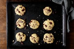 Cookies on a baking tray Stock Photography