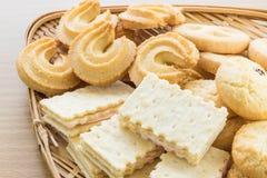 Cookies in bamboo bowl Stock Photos