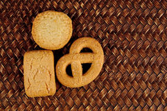 Cookies on bamboo texture background Stock Images
