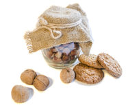 Cookies. Bank with nuts. white isolation. Cookies. Bank with nuts white isolation Royalty Free Stock Image