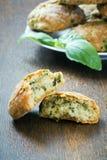 Cookies with basil and parmesan Stock Photos