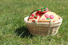 Cookies in a basket. Easter colorful cookies in a wicker-work basket lying on the green grass Stock Photography