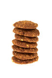 Cookies bio cereal with chocolate chips and nuts isolated Stock Image