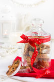 Cookies biscotti in glass jar for Christmas Royalty Free Stock Images