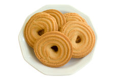 Cookies, biscuit. Some cookies(butter rings) on plate isolated on white background Stock Image