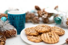 Cookies and biscuits, coffee and tea, served as breakfast meal Royalty Free Stock Photos