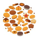 Bakery cookies and patisserie biscuits biscuits pastry chocolate desserts vector poster. Cookies and biscuits desserts poster. Gingerbread stars, man, heats and Stock Images
